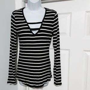 INC Black/White Striped V-neck Long Sleeve Shirt